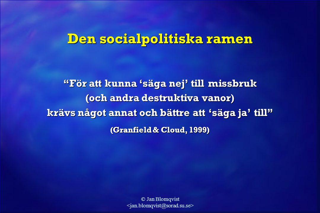"""© Jan Blomqvist Den socialpolitiska ramen """"För att kunna 'säga nej' till missbruk (och andra destruktiva vanor) krävs något annat och bättre att 'säga"""