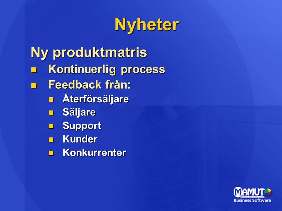 Nyheter Ny produktmatris  Kontinuerlig process  Feedback från:  Återförsäljare  Säljare  Support  Kunder  Konkurrenter
