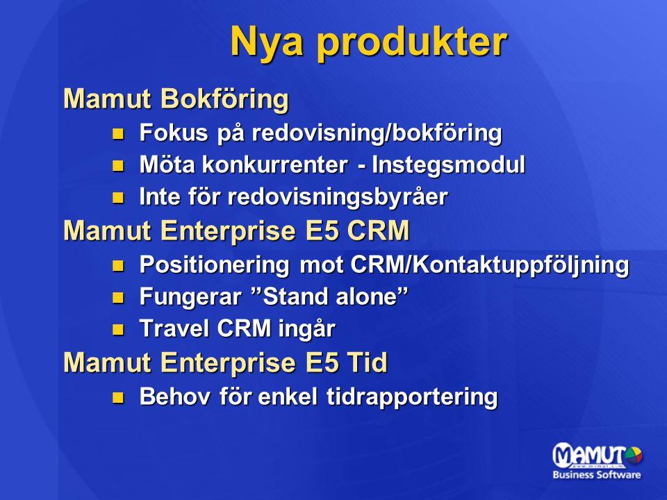 Nya produkter Mamut Bokföring  Fokus på redovisning/bokföring  Möta konkurrenter - Instegsmodul  Inte för redovisningsbyråer Mamut Enterprise E5 CR