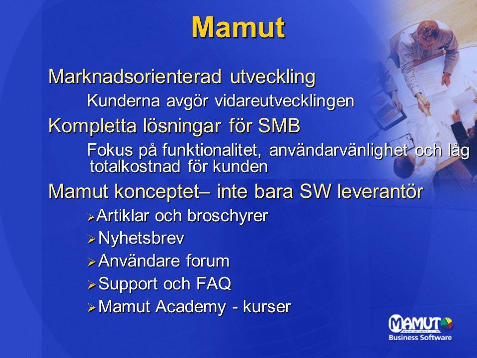 Mamuts samarbetspartners  Arbetat med Microsoft sedan 1995  Mamut Business Software:  Utveckling  Optimering  Integration  Norstedts Juridik  Samarbetet ger effektiva och säkra lösningar – till ett bra pris
