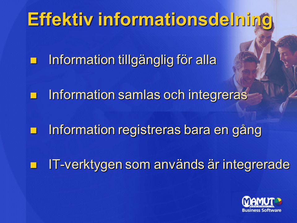 Effektiv informationsdelning  Information tillgänglig för alla  Information samlas och integreras  Information registreras bara en gång  IT-verkty
