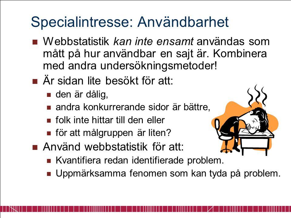Specialintresse: Användbarhet  Webbstatistik kan inte ensamt användas som mått på hur användbar en sajt är. Kombinera med andra undersökningsmetoder!