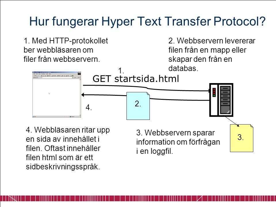 Hur fungerar Hyper Text Transfer Protocol? 1. Med HTTP-protokollet ber webbläsaren om filer från webbservern. 2. Webbservern levererar filen från en m