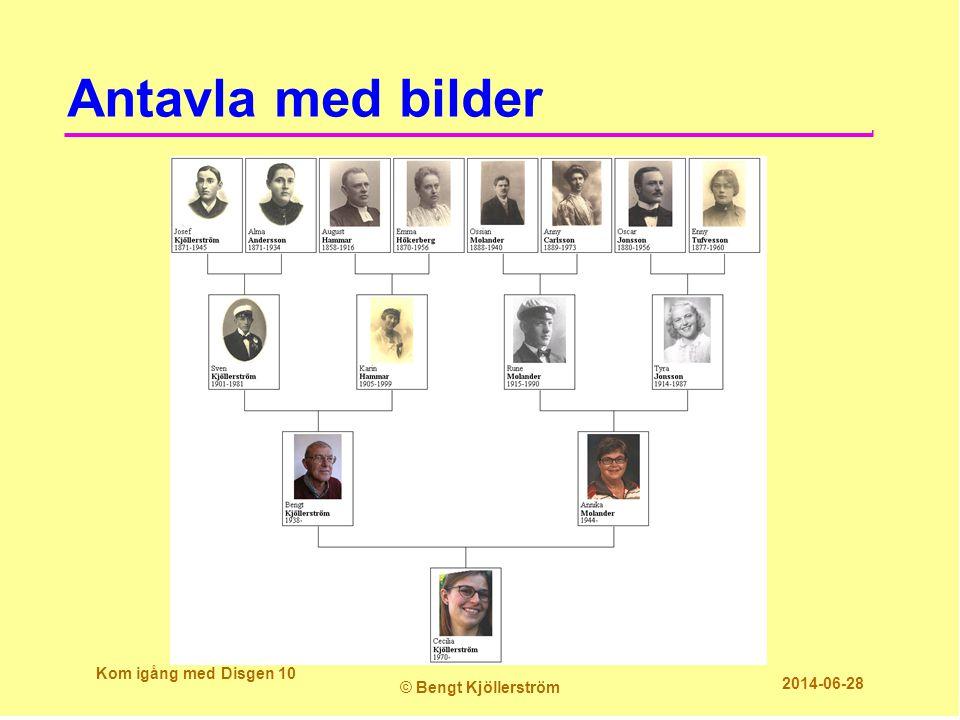 Antavla med bilder Kom igång med Disgen 10 © Bengt Kjöllerström 2014-06-28