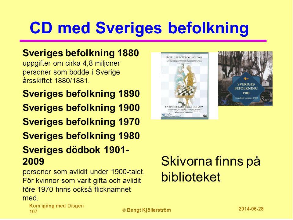 CD med Sveriges befolkning Sveriges befolkning 1880 uppgifter om cirka 4,8 miljoner personer som bodde i Sverige årsskiftet 1880/1881. Sveriges befolk