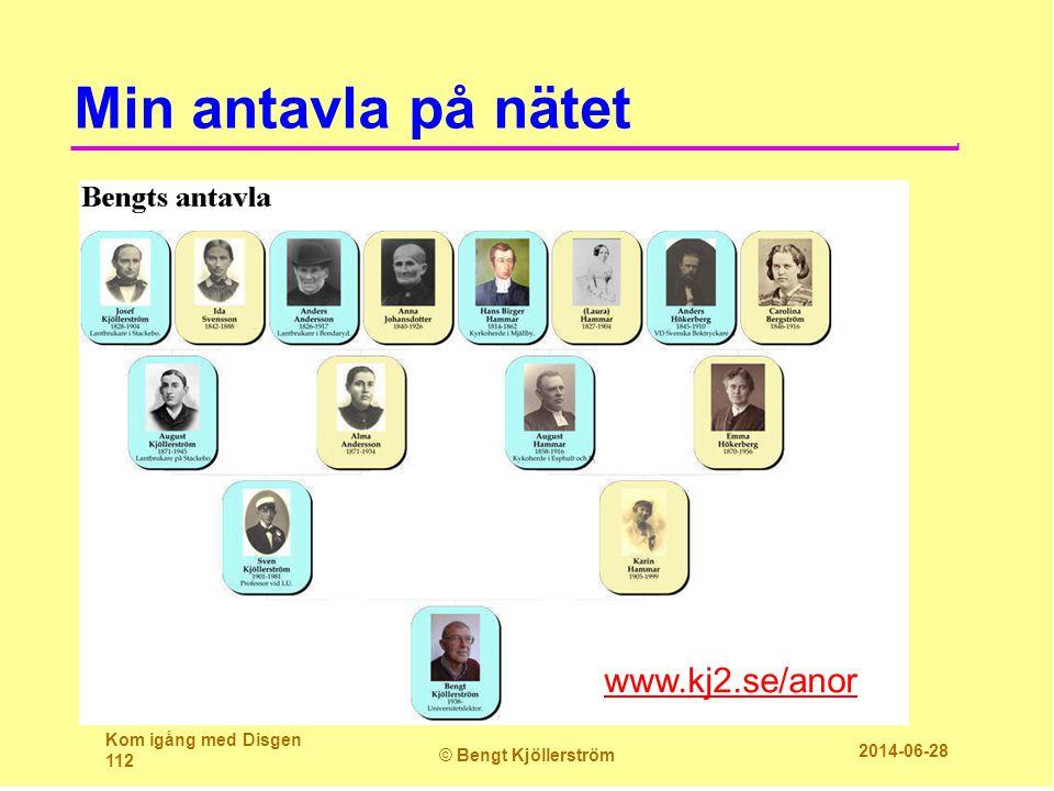 Min antavla på nätet Kom igång med Disgen 112 © Bengt Kjöllerström 2014-06-28 www.kj2.se/anor