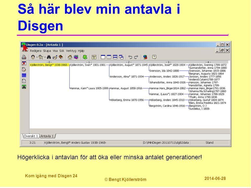 Så här blev min antavla i Disgen Kom igång med Disgen 24 © Bengt Kjöllerström 2014-06-28 Högerklicka i antavlan för att öka eller minska antalet gener