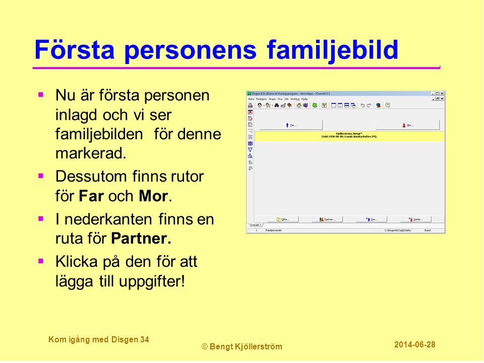 Första personens familjebild  Nu är första personen inlagd och vi ser familjebilden för denne markerad.  Dessutom finns rutor för Far och Mor.  I n