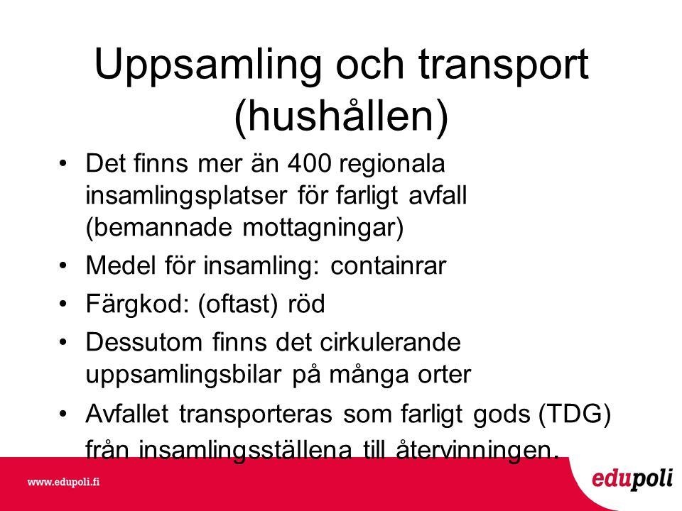 Uppsamling och transport (hushållen) •Det finns mer än 400 regionala insamlingsplatser för farligt avfall (bemannade mottagningar) •Medel för insamling: containrar •Färgkod: (oftast) röd •Dessutom finns det cirkulerande uppsamlingsbilar på många orter •Avfallet transporteras som farligt gods (TDG) från insamlingsställena till återvinningen.