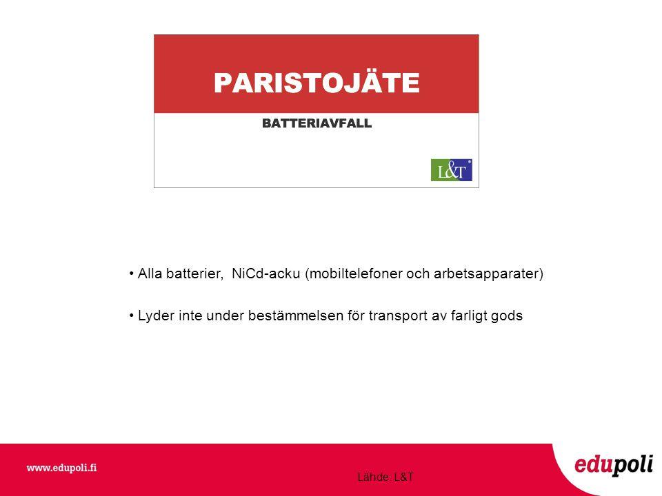 • Alla batterier, NiCd-acku (mobiltelefoner och arbetsapparater) • Lyder inte under bestämmelsen för transport av farligt gods Lähde: L&T
