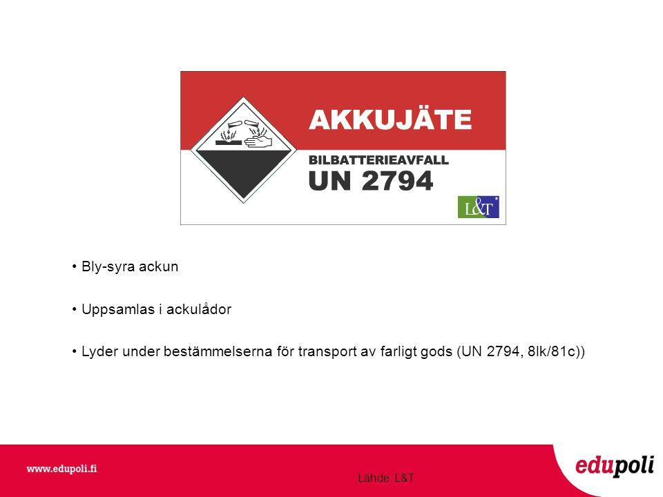 • Bly-syra ackun • Uppsamlas i ackulådor • Lyder under bestämmelserna för transport av farligt gods (UN 2794, 8lk/81c)) Lähde: L&T