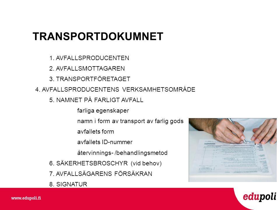 TRANSPORTDOKUMNET 1.AVFALLSPRODUCENTEN 2. AVFALLSMOTTAGAREN 3.