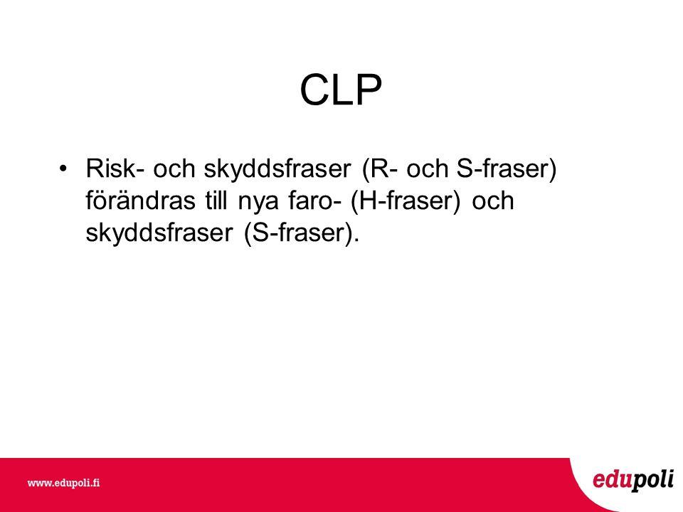 CLP •Risk- och skyddsfraser (R- och S-fraser) förändras till nya faro- (H-fraser) och skyddsfraser (S-fraser).