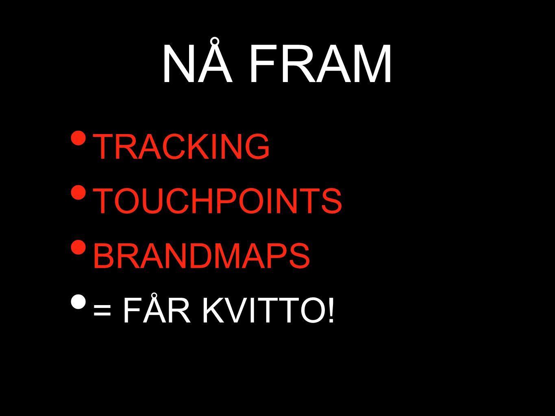 NÅ FRAM • TRACKING • TOUCHPOINTS • BRANDMAPS • = FÅR KVITTO!