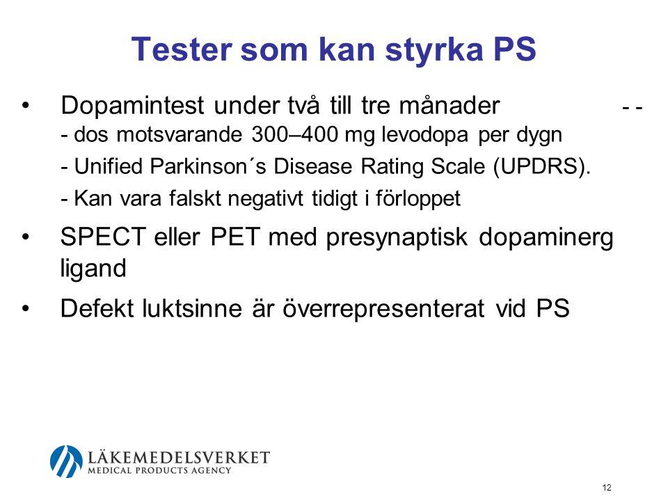 Tester som kan styrka PS •Dopamintest under två till tre månader - - - dos motsvarande 300–400 mg levodopa per dygn - Unified Parkinson´s Disease Rati