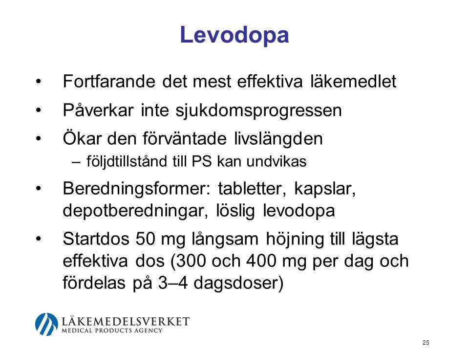 Levodopa •Fortfarande det mest effektiva läkemedlet •Påverkar inte sjukdomsprogressen •Ökar den förväntade livslängden –följdtillstånd till PS kan und