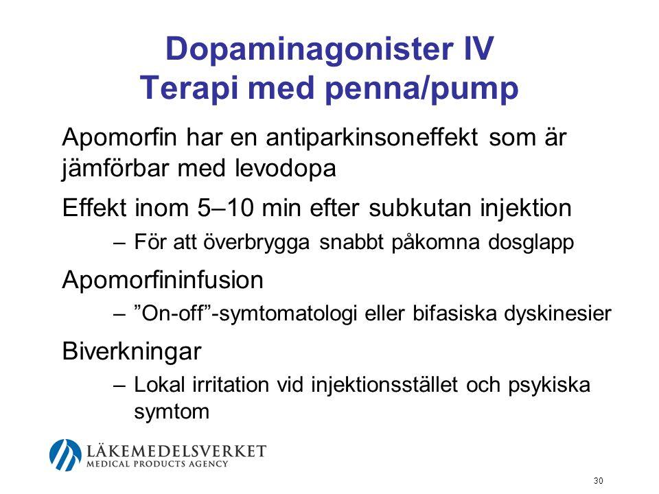 Dopaminagonister IV Terapi med penna/pump Apomorfin har en antiparkinsoneffekt som är jämförbar med levodopa Effekt inom 5–10 min efter subkutan injek