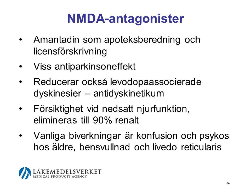 NMDA-antagonister •Amantadin som apoteksberedning och licensförskrivning •Viss antiparkinsoneffekt •Reducerar också levodopaassocierade dyskinesier –