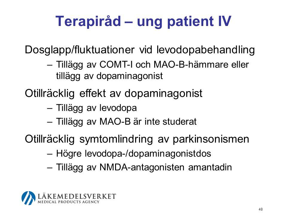 Terapiråd – ung patient IV Dosglapp/fluktuationer vid levodopabehandling –Tillägg av COMT-I och MAO-B-hämmare eller tillägg av dopaminagonist Otillräc