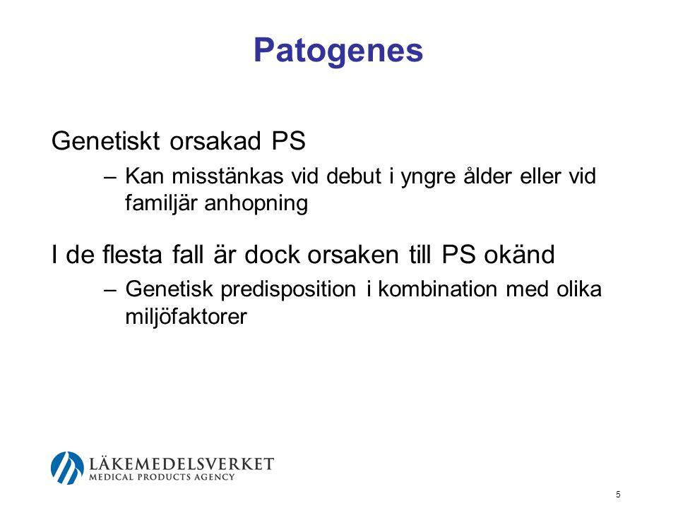 Patogenes Genetiskt orsakad PS –Kan misstänkas vid debut i yngre ålder eller vid familjär anhopning I de flesta fall är dock orsaken till PS okänd –Ge
