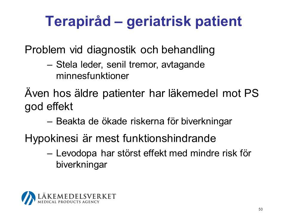 Terapiråd – geriatrisk patient Problem vid diagnostik och behandling –Stela leder, senil tremor, avtagande minnesfunktioner Även hos äldre patienter h
