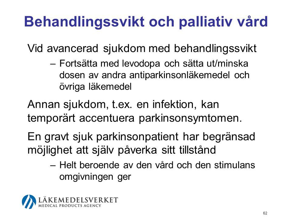 Behandlingssvikt och palliativ vård Vid avancerad sjukdom med behandlingssvikt –Fortsätta med levodopa och sätta ut/minska dosen av andra antiparkinso