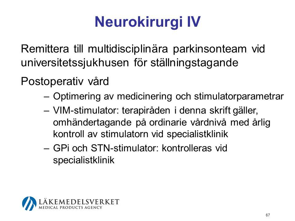 Neurokirurgi IV Remittera till multidisciplinära parkinsonteam vid universitetssjukhusen för ställningstagande Postoperativ vård –Optimering av medici