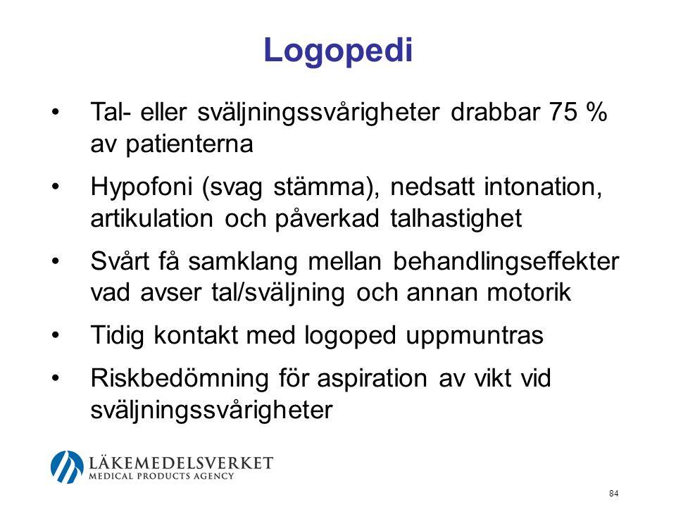 Logopedi •Tal- eller sväljningssvårigheter drabbar 75 % av patienterna •Hypofoni (svag stämma), nedsatt intonation, artikulation och påverkad talhasti