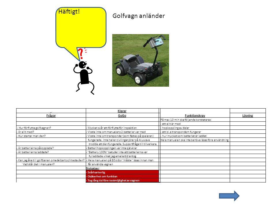 Golfvagn anländer Klarar FrågorGoGo FunktionskravLösning På max 10 min ska följande konstateras: - att allt är med - Hur förflytta golfvagnen?- Mycket