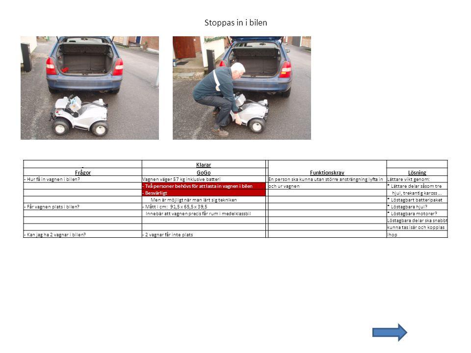 Stoppas in i bilen Klarar FrågorGoGo FunktionskravLösning - Hur få in vagnen i bilen?Vagnen väger 57 kg inklusive batteri En person ska kunna utan stö