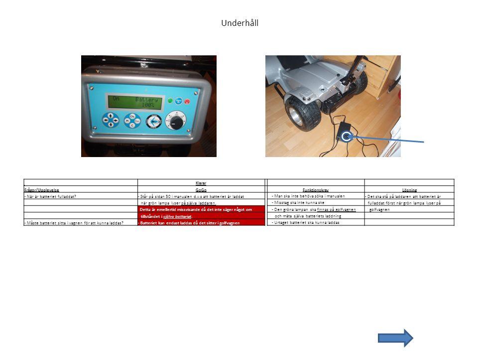 Underhåll Klarar Frågor/UpplevelseGoGo FunktionskravLösning - När är batteriet fulladdat?- Står på sidan 50 i manualen d.v.s att batteriet är laddat -