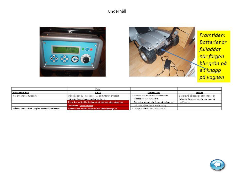 Underhåll Framtiden: Batteriet är fulladdat när färgen blir grön på en knapp på vagnen Klarar Frågor/UpplevelseGoGo FunktionskravLösning - När är batt