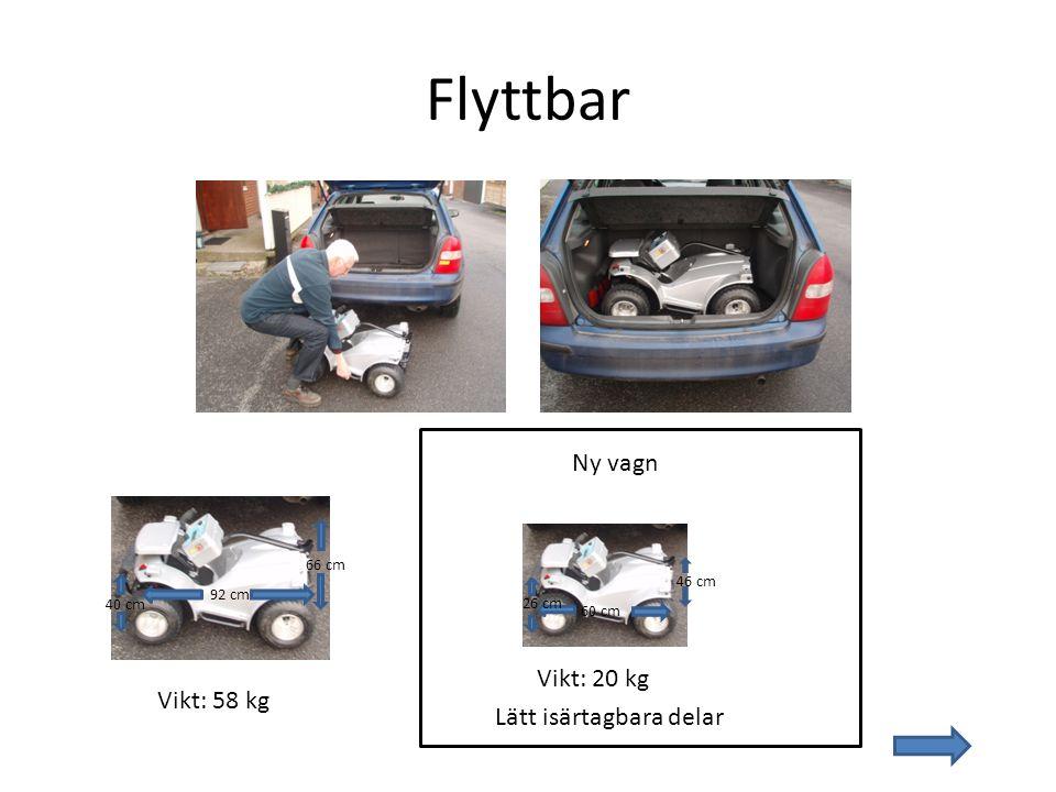 Flyttbar 92 cm 66 cm 40 cm Vikt: 58 kg Ny vagn 60 cm 46 cm 26 cm Vikt: 20 kg Lätt isärtagbara delar