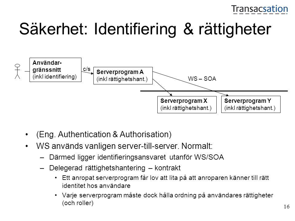 16 Säkerhet: Identifiering & rättigheter •(Eng. Authentication & Authorisation) •WS används vanligen server-till-server. Normalt: –Därmed ligger ident
