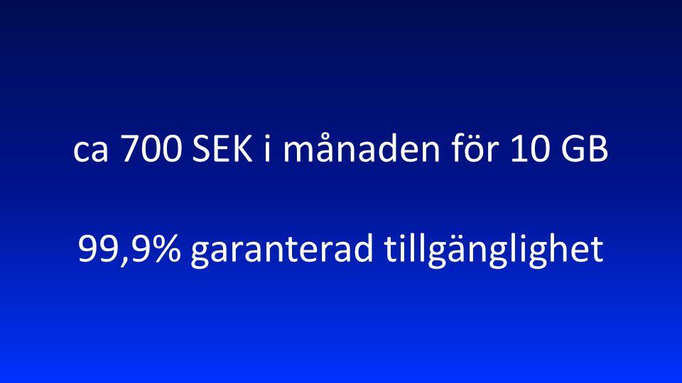 ca 700 SEK i månaden för 10 GB 99,9% garanterad tillgänglighet