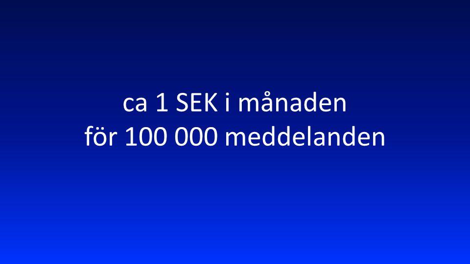 ca 1 SEK i månaden för 100 000 meddelanden