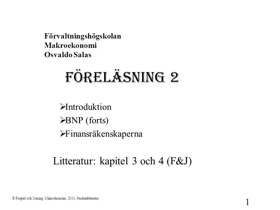 Förvaltningshögskolan Makroekonomi Osvaldo Salas FÖRELÄSNING 2  Introduktion  BNP (forts)  Finansräkenskaperna Litteratur: kapitel 3 och 4 (F&J) ©