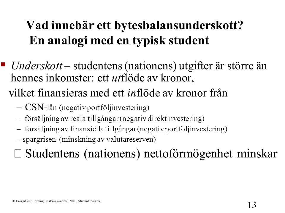 © Fregert och Jonung, Makroekonomi, 2010, Studentlitteratur 13  Underskott – studentens (nationens) utgifter är större än hennes inkomster: ett utflö