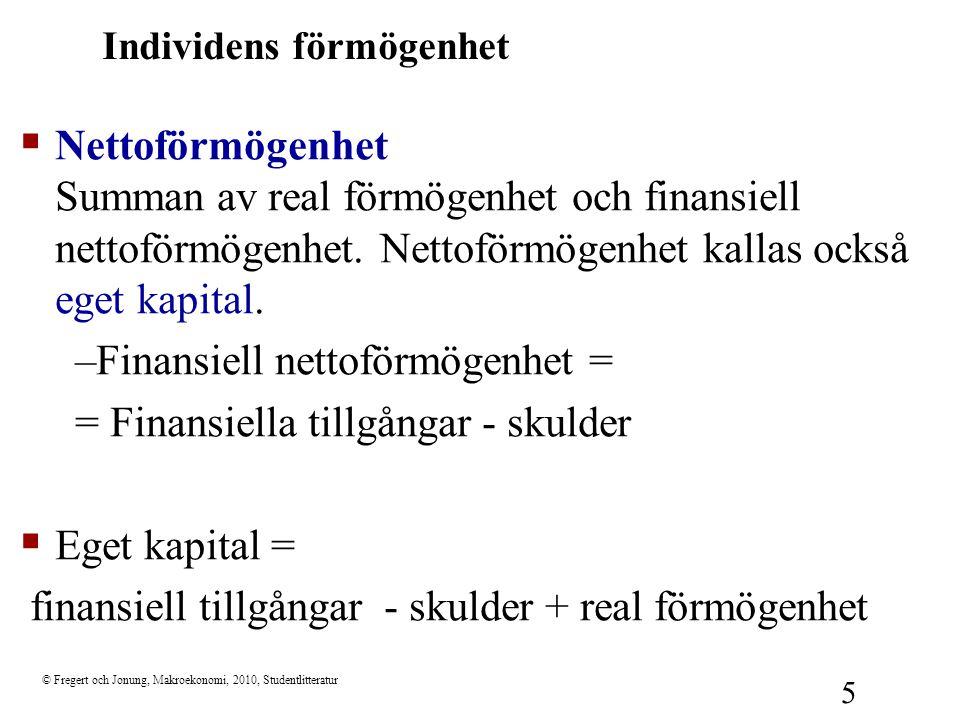 © Fregert och Jonung, Makroekonomi, 2010, Studentlitteratur 5 Individens förmögenhet  Nettoförmögenhet Summan av real förmögenhet och finansiell nett