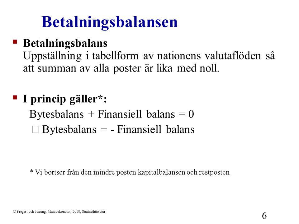 © Fregert och Jonung, Makroekonomi, 2010, Studentlitteratur 7  Bytesbalansen (current account) Nettoinflöde av valuta från löpande transaktioner med omvärlden  Bytesbalans = nettoexporten (export – import) + nettofaktorinkomster från utlandet + nettotransfereringar från utlandet (EU-avgifter och bidrag, U-hjälp)