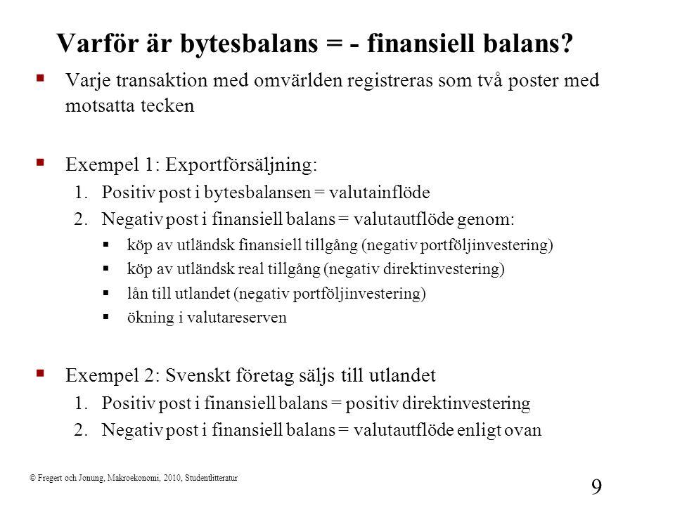 © Fregert och Jonung, Makroekonomi, 2010, Studentlitteratur 9 Varför är bytesbalans = - finansiell balans?  Varje transaktion med omvärlden registrer