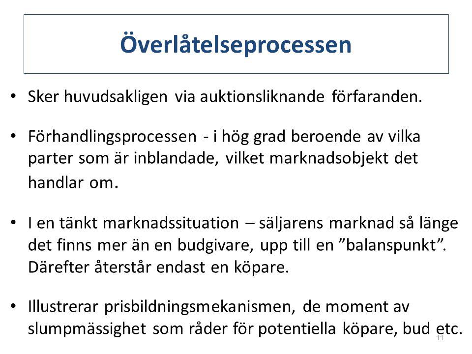 Överlåtelseprocessen • Sker huvudsakligen via auktionsliknande förfaranden. • Förhandlingsprocessen - i hög grad beroende av vilka parter som är inbla
