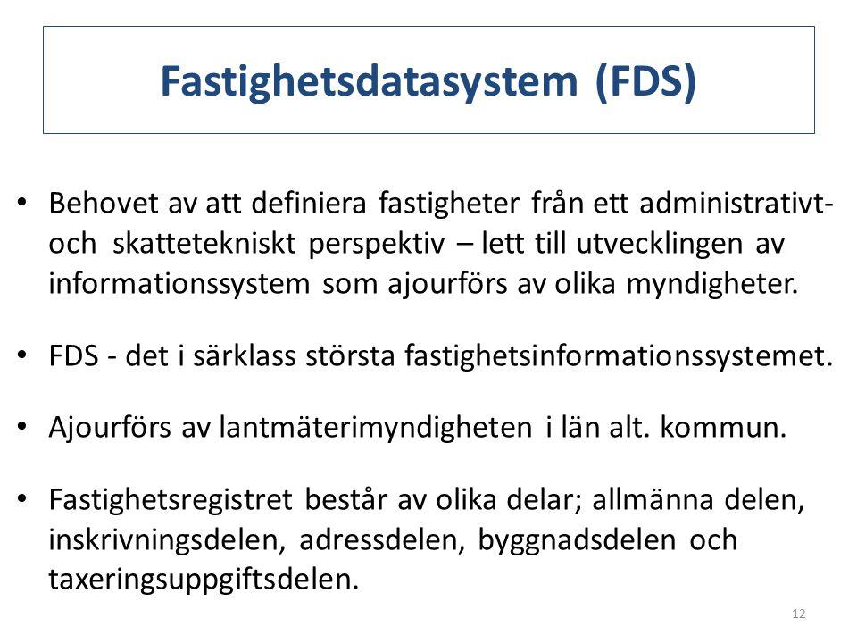 Fastighetsdatasystem (FDS) • Behovet av att definiera fastigheter från ett administrativt- och skattetekniskt perspektiv – lett till utvecklingen av i