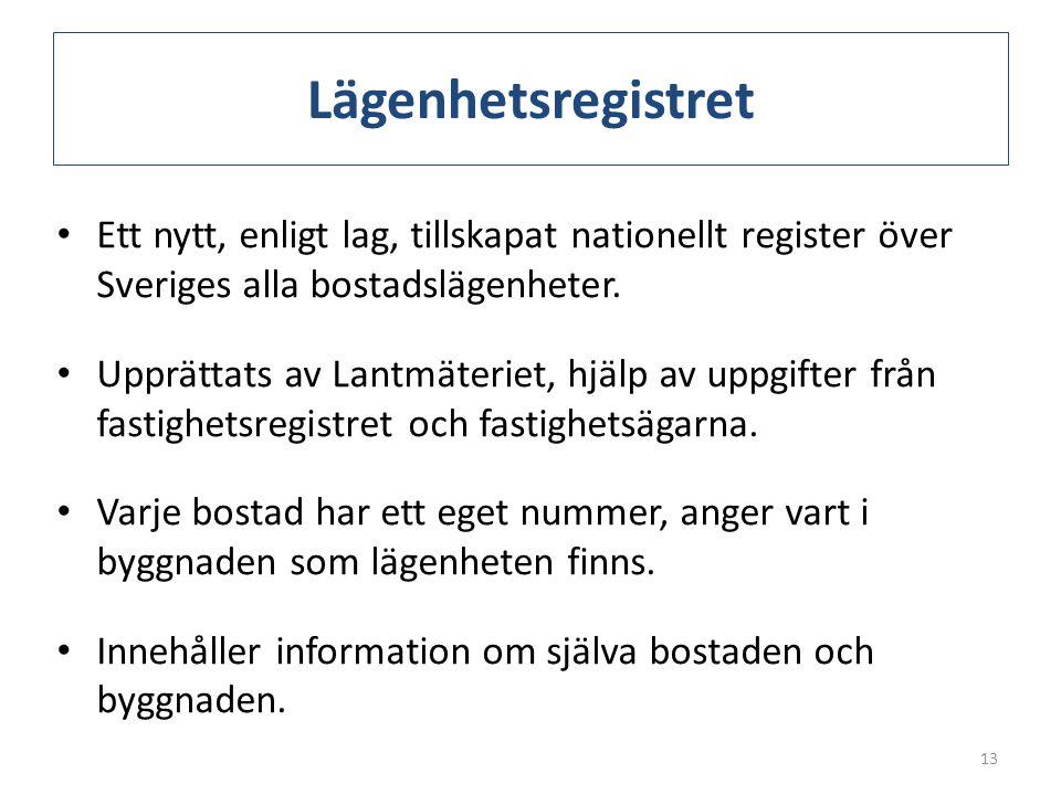 Lägenhetsregistret • Ett nytt, enligt lag, tillskapat nationellt register över Sveriges alla bostadslägenheter. • Upprättats av Lantmäteriet, hjälp av