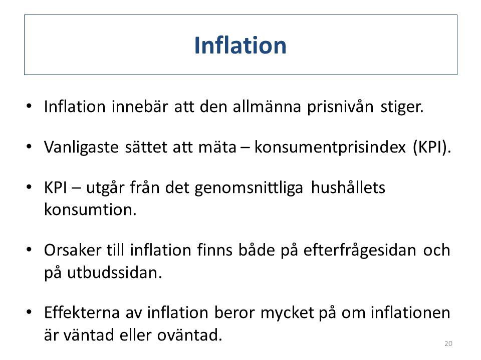 Inflation • Inflation innebär att den allmänna prisnivån stiger. • Vanligaste sättet att mäta – konsumentprisindex (KPI). • KPI – utgår från det genom
