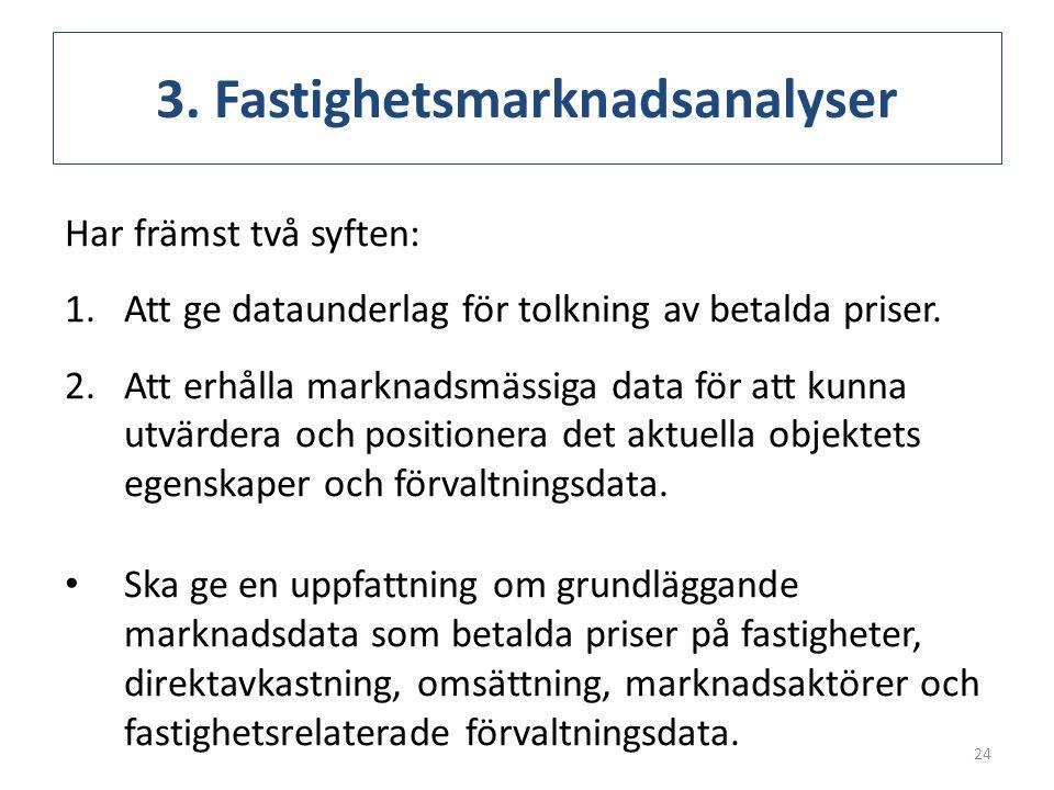 3. Fastighetsmarknadsanalyser Har främst två syften: 1.Att ge dataunderlag för tolkning av betalda priser. 2.Att erhålla marknadsmässiga data för att
