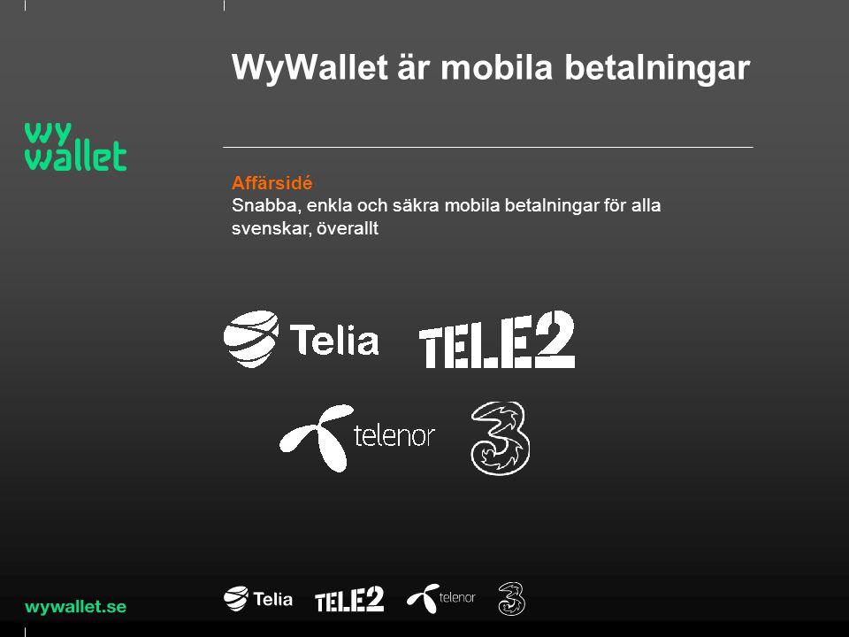 Drivkrafter bakom WyWallet Mobilfakturans förändring Betalningars andel av mobilfakturan ökar kreditrisken och påverkar varumärkesperceptionen Regulatoriska förändringar Europeiska direktiv och svensk lagstiftning kring betaltjänster och elektroniska pengar kräver processer och system utöver operatörernas kärnaffär Affärsutveckling Smarta telefoner möjliggör konkurrens och snabb affärsutveckling.