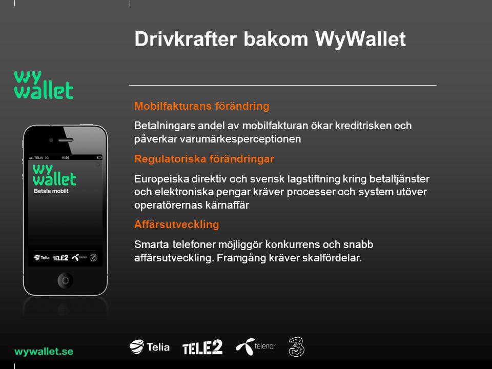 WyWallet erbjuder ett generiskt betalsätt Operatörerna slutar med egen betalningsförmedling WyWallets fordringar för sms-köp kan läggas på mobilfakturan Kunden väljer WyWallet för enkelhet och nya tjänster Mobil + App + Mobilnummer + PIN som trygghet Handlaren väljer WyWallet för tillgänglighet, snabbhet och köpvolymer WyWallet – en folkplånbok jämte andra betalsätt som är enkelt på webben och snabbt i butiken
