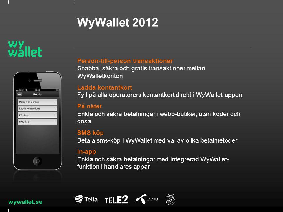 WyWallet 2012 Person-till-person transaktioner Snabba, säkra och gratis transaktioner mellan WyWalletkonton Ladda kontantkort Fyll på alla operatörers