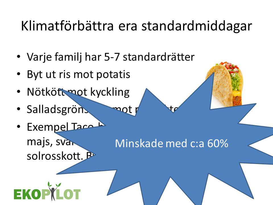 Klimatförbättra era standardmiddagar • Varje familj har 5-7 standardrätter • Byt ut ris mot potatis • Nötkött mot kyckling • Salladsgrönsaker mot rotf